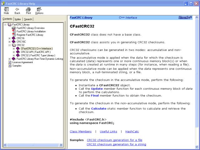 Click to view FastCRC Library 1.51 screenshot